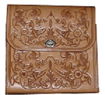 Ladies Purse, full floral carved, natural color